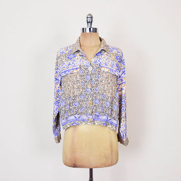 Carole Little Jacket Rayon Gauze Jacket Crop Jacket Blue Paisley Jacket Ethnic Jacket 70s Hippie Jacket Boho Jacket Women PS Petite Small