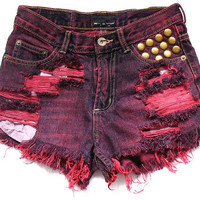 Shredded and studded high waisted shorts XS by deathdiscolovesyou