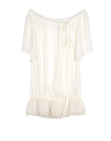 frill crepe short sleeve shirt