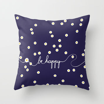 HAPPY DAISY Throw Pillow by Monika Strigel | Society6