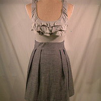 Monteau gray ruffle front pleated tie waist cotton summer dress sz Small | eBay