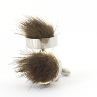 Mens Cuff Links Faux Sable Brown Fur Silver Tone | SusanSheehan - Accessories on ArtFire