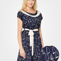 FredFlare.com - Navy Sailboat Cap Sleeve Dress - Shop All Dresses Now