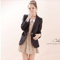 Fashion Style One Button Threequarter Sleeve Slim Blazer Black-Wholesale Women Fashion From Icanfashion.com