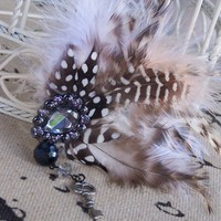 Handmade  Bridal Smoky Feather Fascinator w Gemstone and Key Charm | peaceloveandallthingsjewelry - Wedding on ArtFire