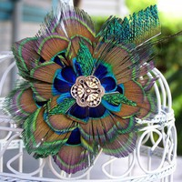 Handmade Feather Flower Fascinator - 4 inches across | peaceloveandallthingsjewelry - Accessories on ArtFire