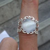 White Opal Ring With Rhodium Plated by sweethearteverybody on Etsy
