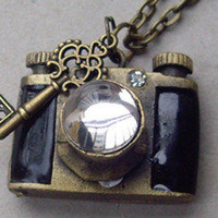 black camera locket necklace with a little by sweethearteverybody