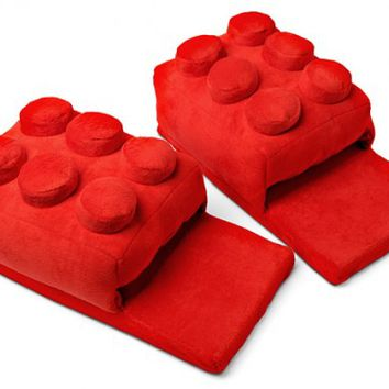 B2 – RED LEGO SLIPPERS