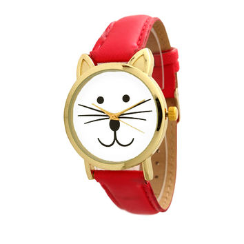 B2 – RED CAT FACE -ADJUSTABLE WATCH