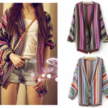 Boho Ethnic Colorful Wave Stripe Knit Top Blouse Sweater