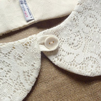 peterpan collar summer collar lace on cream by qtpiworkshop