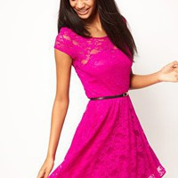Lace Skater Dress with Belt