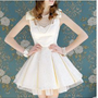 White Jacquard heiress bow your waist thick and disorderly without sleeves, skirt dress