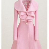 Free shipping Large pink lotus leaf collar wool long coat