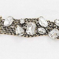 Vintage crystal cluster multi metal chain bracelet by donnaashley on Sense of Fashion