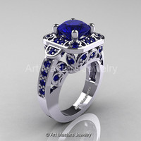 Art Masters Classic 14K White Gold 2.0 Ct Blue Sapphire Engagement Ring Wedding Ring R298-14KWGBS