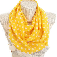 ON SALE - Yellow Polka Dot Infinity Scarf Shawl Circle Scarf Loop Scarf - Gift  for her