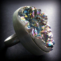 Rainbow Quartz Handforged Sterling Silver Ring