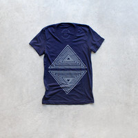Rule of Thirds - tshirt for women | ladies graphic tee - geometric triangle print on navy blue top - gift for her by Blackbird Tees