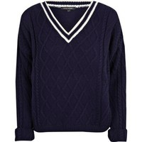 navy v neck cricket jumper - jumpers - jumpers / cardigans - women - River Island
