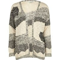 beige abstract print cardigan - cardigans - jumpers / cardigans - women - River Island