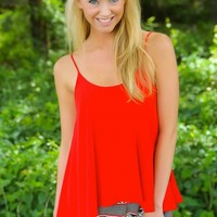 Wide Awake Tank-Red Dress Red