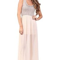 Beige Crochet Maxi Dress at Blush Boutique Miami - ShopBlush.com