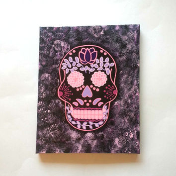Sugar skull -purple and pink- fashionable acrylic canvas painting for trendy girls room or home…