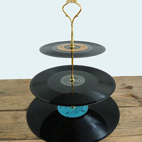 vintage vinyl cake stand by tinker &amp; tailor | notonthehighstreet.com