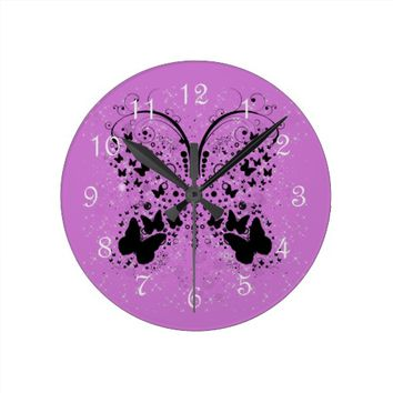 Butterfly Sparkles PURPLE Wall Clock