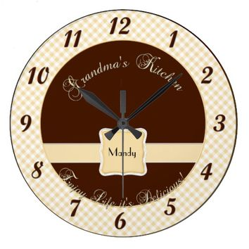 Grandmas Kitchen Wall Clock - Chex Brown