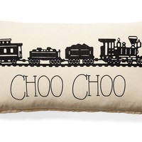 Train 10x20 Cotton Pillow, Natural, Decorative Pillows