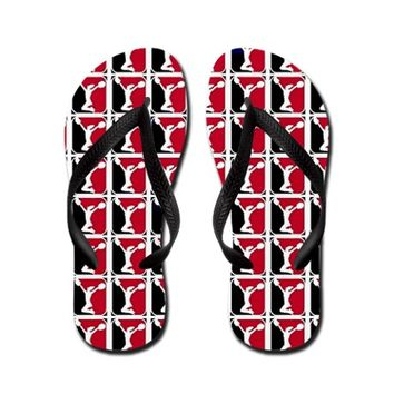 Black and Red Cheerleader Flip Flops