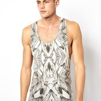 ASOS Tank With Animal Skull Print And Extreme Racer Back - Off white