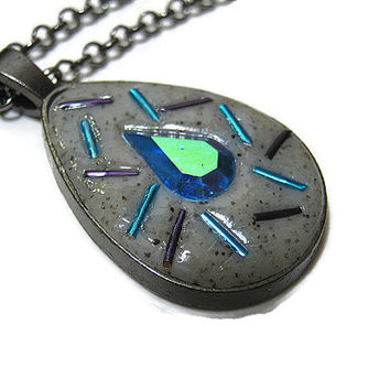 Gunmetal Grey Blue Purple Polymer Clay Teardrop Pendant with AB Rhinestone