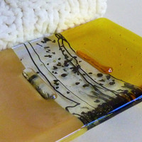 Yellow Fused Glass Soap Dish