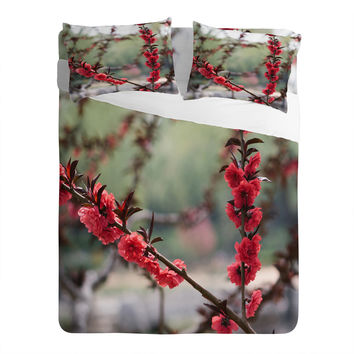 Catherine McDonald Red Peach Blossoms In China Sheet Set