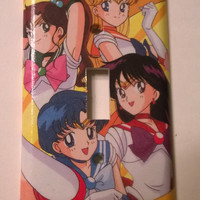 Sailor Moon comic book anime decoupage light switch cover