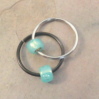 Sea Foam Green Beaded Cartilage Hoop Earring Septum Tragus Nose Ring Upper Ear Piercing 20 Gauge