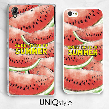 Sweet taste of summer - watermelon phone case for Sony Xperia Z, Z1, Z1s, Z1 compact, Z2, Z ultra, T2 ultra - hard case / soft case - W08