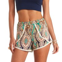 PRINTED CROCHET TRIM HIGH-WAISTED DOLPHIN SHORTS