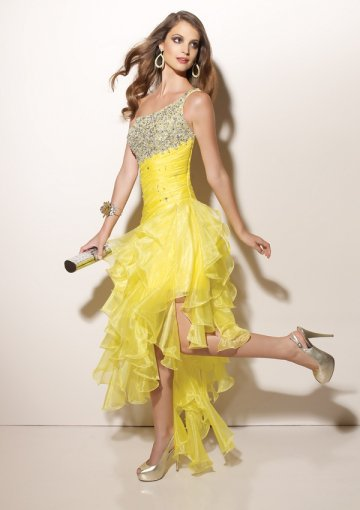 yellow one-shoulder evening dress