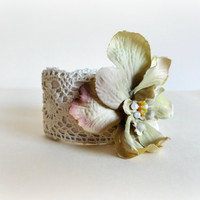Delphinium Romantic Lace Cuff WhimsicalSilk fabric by GBILOBA