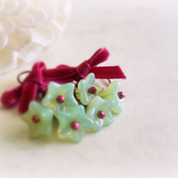 Raspberry & mint flower earrings Czech glass opalite by GBILOBA
