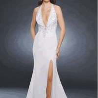 Sexy Halter V-neckline Chiffon Party Dress Evening Gown With Beading And slit
