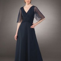 Unique A-line V-neck Chiffon Mother Of The Bride Dresses Prom Gowns With Ruffles