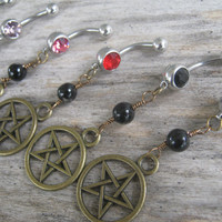 Pick One Pentacle Belly Ring, BRONZE Agate Belly Button Ring, Birthstone Piercing, Wicca Body Jewelry, Supernatural Pentagram Navel Ring