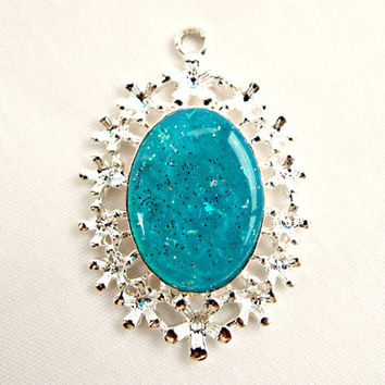 Blue Flower Pendant, Silver Flower Bezel, Turquoise Cameo, Neon Blue Jewelry, Glitter Pendant, Silver Bezel, Summer Colors, Jewelry Supplies