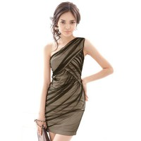 Bqueen Sexy One Shoulder Dress BY250E - Designer Shoes|Bqueenshoes.com